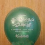 шар зеленый металлик с белым логотипом